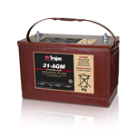 31-AGM Trojan, Batteria Trojan  AGM Deep Cycle 12 Volt 100Ah (20hr.). Dimensioni: 341x173xh.233 mm.